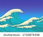 Ocean High Waves. Pop Art Retr...