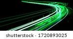 Green Car Lights At Night. Long ...