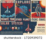 vintage space posters set with... | Shutterstock .eps vector #1720939072