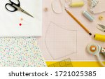 sewing medical mask at home... | Shutterstock . vector #1721025385