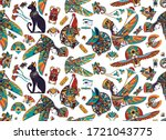 ancient egypt seamless pattern. ... | Shutterstock .eps vector #1721043775