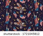 usa seamless pattern.  statue... | Shutterstock .eps vector #1721045812