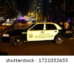 Jersey City, New Jersey / USA - 17th October 2018 - Police car on the street in the evening - stock photo