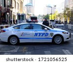 New York / USA - 16th October 2018 - Police car on the street - stock photo