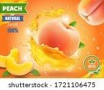 peach juice. realistic splash... | Shutterstock . vector #1721106475