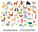 big set of cute cartoon animals.... | Shutterstock .eps vector #1721146705