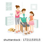 wife cutting hair for husband... | Shutterstock .eps vector #1721153515