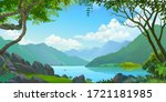 a view from the jungle. calm... | Shutterstock .eps vector #1721181985