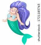 funny mermaid character....   Shutterstock . vector #1721185765