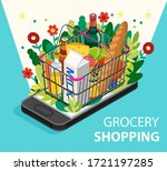 grocery shopping online concept....   Shutterstock .eps vector #1721197285