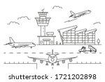airport landscape scene black... | Shutterstock .eps vector #1721202898