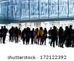 a large group of boys and girls.... | Shutterstock . vector #172122392