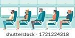 passengers wearing protective... | Shutterstock .eps vector #1721224318