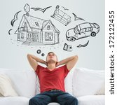 Small photo of Mortgage and credit concept. Young man planning his future
