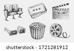 hand drawn sketch set of cinema ...   Shutterstock .eps vector #1721281912