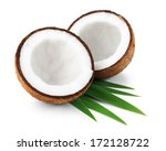 two halves of coconut isolated... | Shutterstock . vector #172128722
