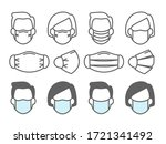 face mask use. people medical... | Shutterstock .eps vector #1721341492