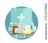 medical supplies  bottles... | Shutterstock .eps vector #1721375062