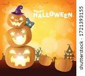 happy halloween poster party ... | Shutterstock .eps vector #1721393155