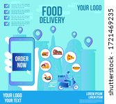 food delivery design by scooter ... | Shutterstock .eps vector #1721469235