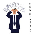 a businessman holds his head ... | Shutterstock .eps vector #1721493028