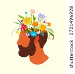 mans profile with blossom... | Shutterstock .eps vector #1721496928
