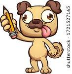 happy cartoon pug dog standing... | Shutterstock .eps vector #1721527165