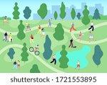people in summer park. city... | Shutterstock .eps vector #1721553895