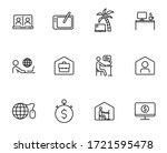 remote work linear vector icons ...