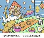 cute girl in quarantine...   Shutterstock . vector #1721658025