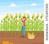 girl farmer collecting corn ... | Shutterstock .eps vector #1721691502