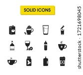 drink icons set with whiskey...