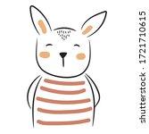 cute doodle bunny illustration. ... | Shutterstock .eps vector #1721710615