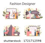 fashion designer or tailor... | Shutterstock .eps vector #1721712598