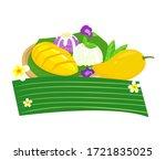 logo thai dessert mango  with... | Shutterstock .eps vector #1721835025