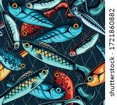 vintage fishing lures seamless... | Shutterstock .eps vector #1721860882