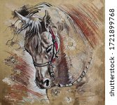 Horse Drawing Charcoal Acrilyc...