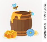 Wooden Barrel With Honey  Bees  ...