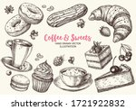 set of hand drawn delicious...   Shutterstock .eps vector #1721922832