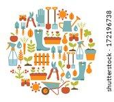 round card with gardening... | Shutterstock . vector #172196738