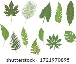 12 green graphic tropical... | Shutterstock .eps vector #1721970895