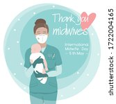 young female midwife  happy... | Shutterstock .eps vector #1722004165