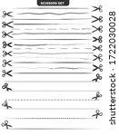 set of black scissors with cut... | Shutterstock . vector #1722030028