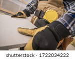 Close Up Of Construction Worker With Building Material Measured And Cut. - stock photo