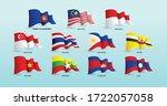 set of waving flags of members... | Shutterstock .eps vector #1722057058