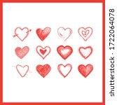 hearts doodles collection.... | Shutterstock .eps vector #1722064078