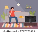 man on the sofa yawning and and ... | Shutterstock .eps vector #1722096595