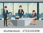 business office people maintain ... | Shutterstock .eps vector #1722132358