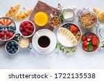 Healthy Breakfast Set On Grey...