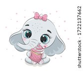 cute baby elephant with cupcake....   Shutterstock .eps vector #1722137662